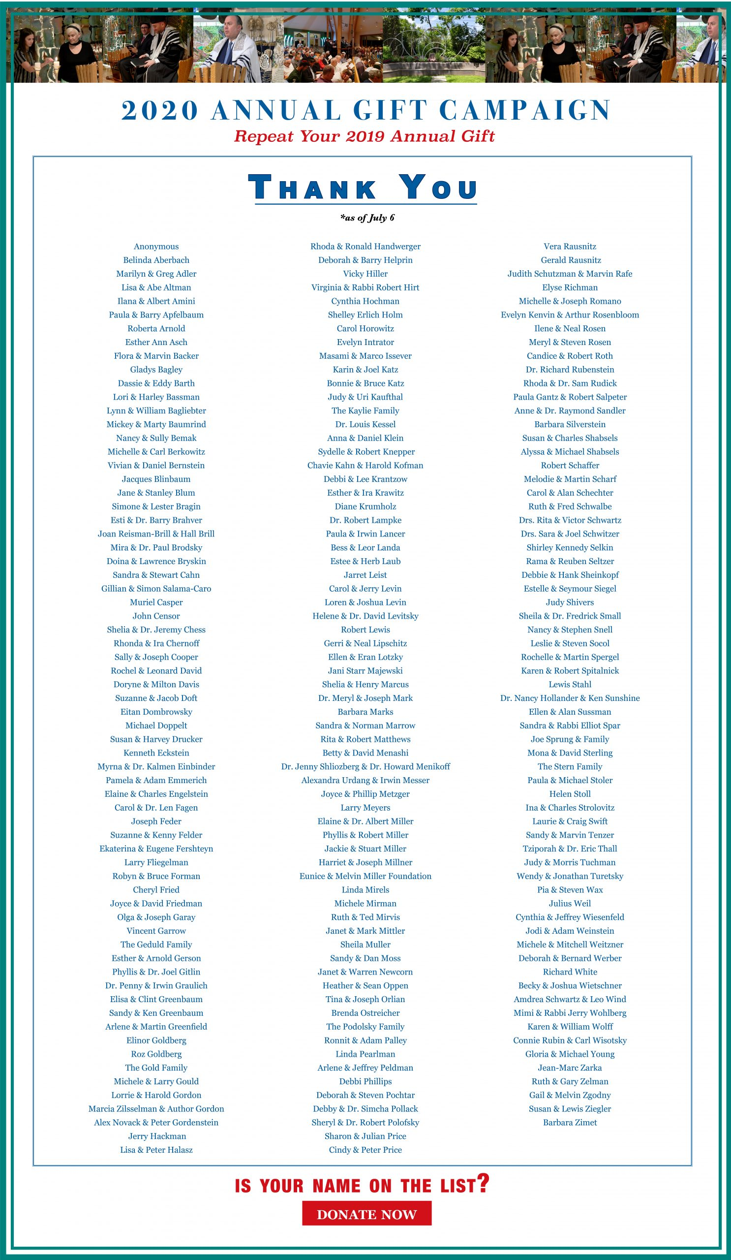 2020 Annual Gift Campaign – Are You On The List?