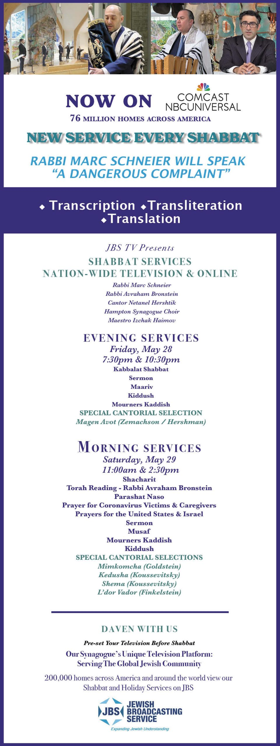 JBS TV Shabbat & Holiday Services