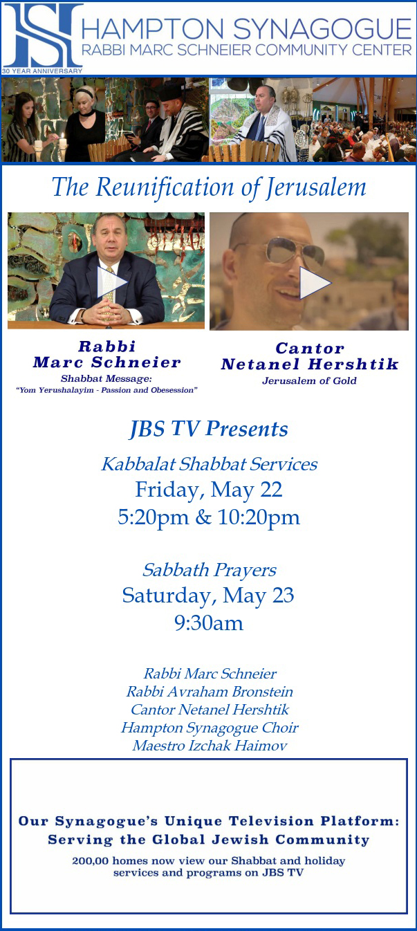 JBS TV Shabbat Services & Special Programs