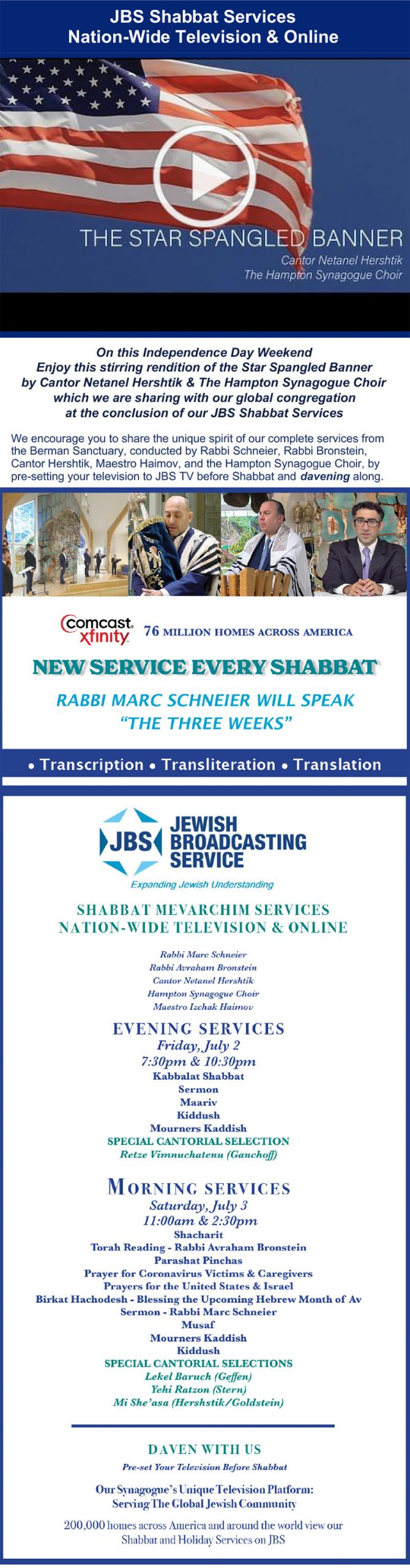Read more about the article JBS TV Shabbat & Holiday Services